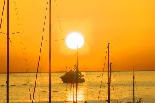 Sunrise, Sun, Vacations, Sea, Italy, Sicily