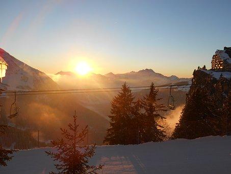 Sunset, Mountains, Snow, Winter, Sky, Nature, Peak