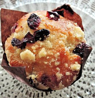 Cranberry Muffin, Crumb Top, Sugar, Sweet Food