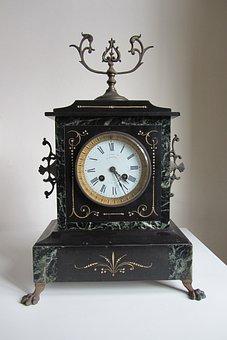 Clock, French Mantel Clock, Timepiece, Antique