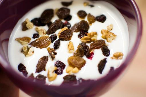 Yoghurt, Fruit, Nuts, Walnut, Raisins, Breakfast, Food