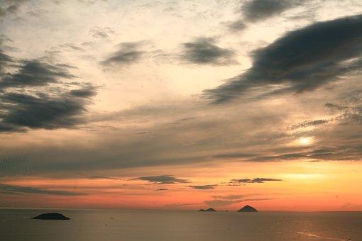 Sunrise, Sunset, Sea, Ocean, Asia, Clouds, Sky