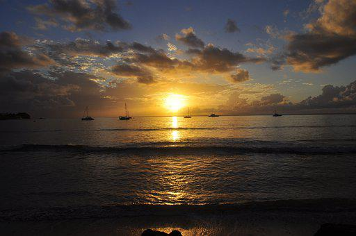 Boats, Beach, Sunset, Dusk, Ocean, Sea, Sky, Clouds