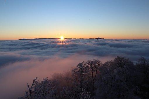Nature, Sunset, Outdoors, Dusk, Sky, Fog, Haze, Clouds
