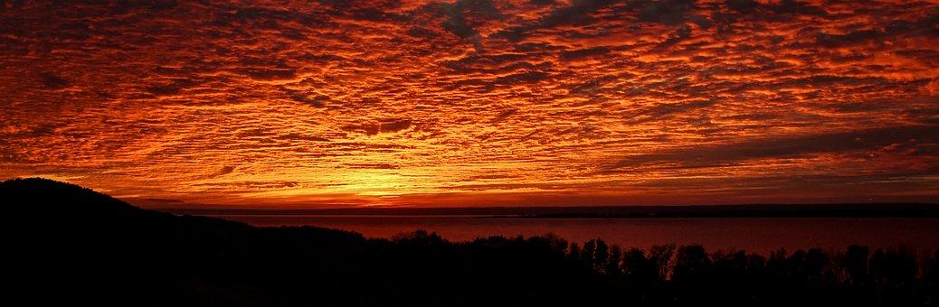 Sunset, Nature, Lake, Sky, Clouds, Outdoors, Dusk