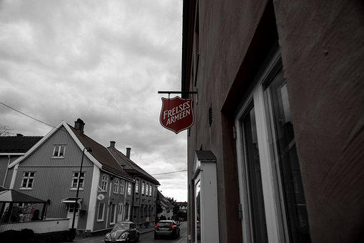 Town, Street, Urban, Buildings, Cars, Road, Red, Norway
