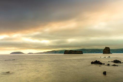 Sea, Sunset, Clouds, Sky, Ocean, Horizon, Cloudy Day