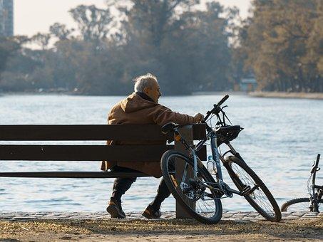 Man, Bench, Nature, Leisure, Outdoors, Bike, Lake