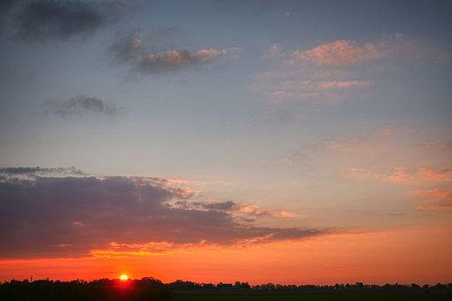 Sunset, Dusk, Horizon, Clouds, Nature