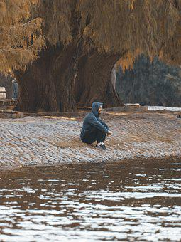 Man, Leisure, Nature, Outdoors, River, Lake, Tree