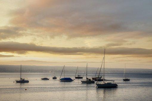 Sailboats, Lake, Clouds, Dusk, Water, Reflection