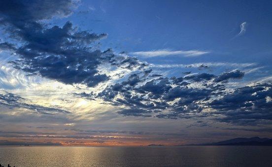 Sunset, Sky, Sea, Clouds, Horizon, Nature, Seascape