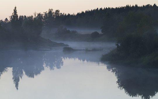 River, Forest, Fog, Nature, Dusk, Reflection, Water