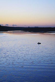 River, Boat, Dusk, Silhouette, Water, Nature, Twilight