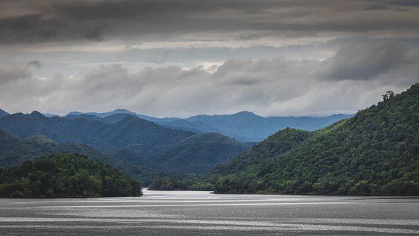 Thailand, Mountains, River, Reservoir, Lake, Cloudy Day