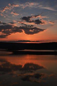 River, Lake, Sunset, Sundown, Twilight, Forest, Nature