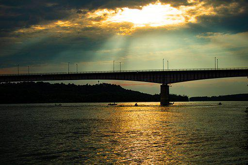 Bridge, Sunset, Danube River, Sundown, River, Nature