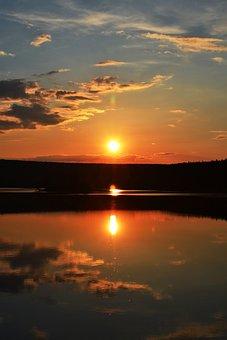 Sunset, River, Sky, Dusk, Nature, Water, Twilight