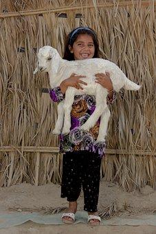 Baloch Girl, Iran, Child, Portrait, Smiling, Goat, Pet