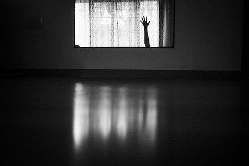 Hand, Dark, Window, Black And White