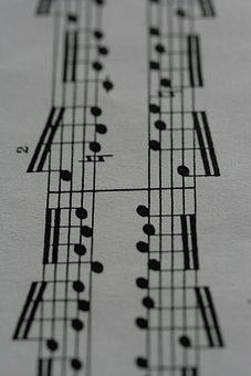 Music, Musical Notes, Staves, Etude, Black And White