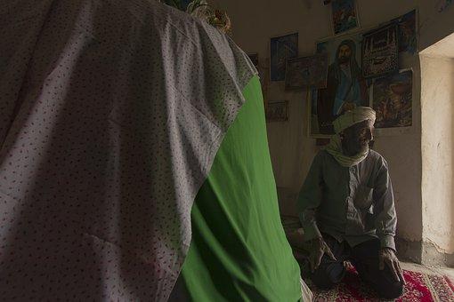Man, Senior, Baloch, Elderly, Old Man, Indoors, Nomad
