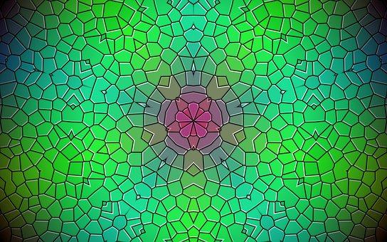 Rosette, Mandala, Kaleidoscope, Green Background