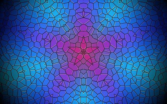 Rosette, Mandala, Mosaic, Blue Background