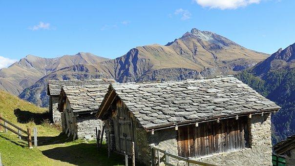 Mountains, Walser Settlement, Alpine Valley, Village