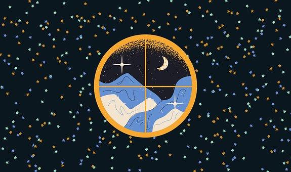 Wallpaper, Starry Night, Window, Mountains, Nature
