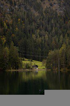 Lake, Cabin, Forest, Mountain, Nature