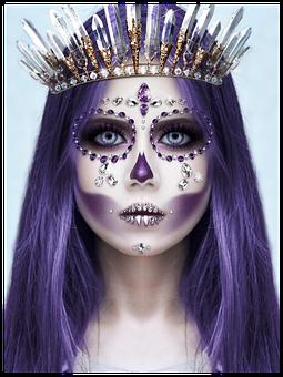 Woman, Mask, Princess, Purple, Make-up, Halloween