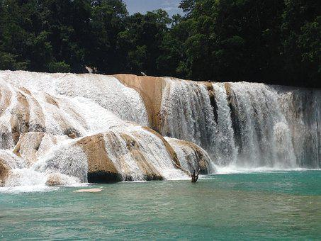 Agua Azul, Mexico, Yucatan, Exotic Waterfalls, Blue