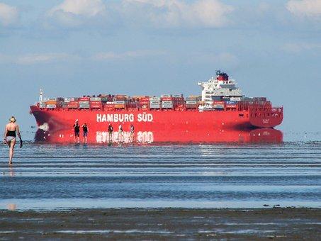 Ship, Wadden Sea, Mirage, North Sea, Watts, Sea, Beach