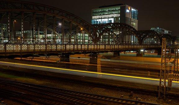Bridge, Munich, Hacker Bridge, Night, Railway Station