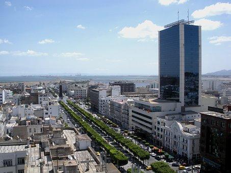Tunis, Tunisia, Sky, Clouds, Skyscraper, Buildings