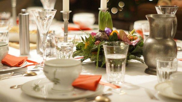 Christmas, Dinner, Table, Festive, Plate, Dining