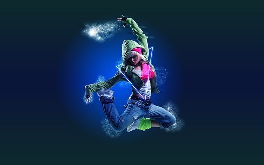 Dance, Girl, Electro, Jump, In The Air, Photoshop
