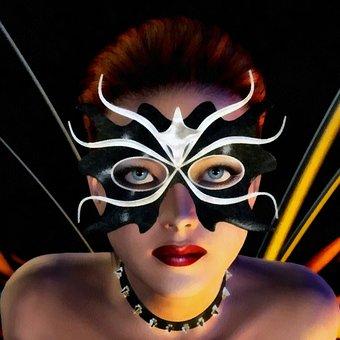 Girl, Woman, Model, Face, Mask, Butterfly, Fantasy