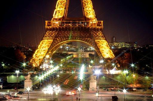 Eiffel Tower, Night, Stars, Flicker, Architecture
