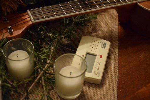 Candles, Guitar, White, Tuner, Instrument, Musical