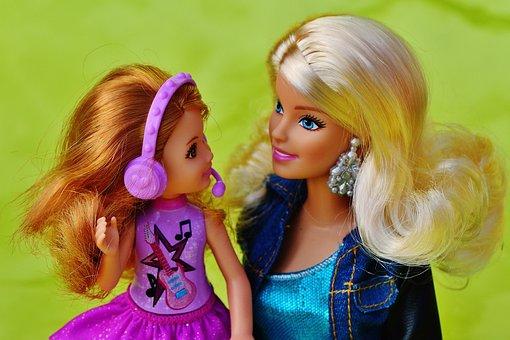 Barbie, Doll, Mama, Child, Headphones, Music