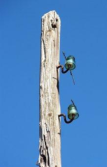 Electric Pole, Abandoned, Insulators, Light Cut