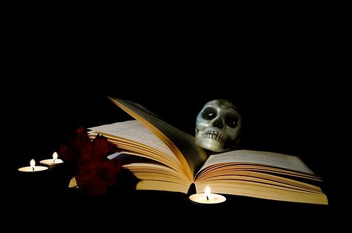 Halloween, Book, Candle, Magic, Postcard, Skull