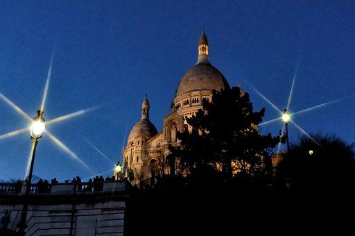 Basilica, Sacré-coeur, Night, Monument, Paris, Flicker