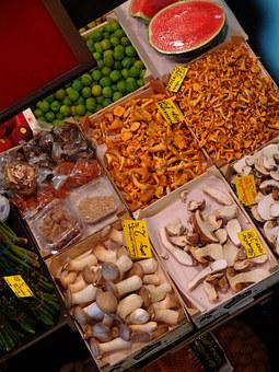 Mushrooms, Market, Chanterelles, Frisch, Vegetables