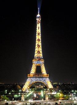 Eiffel Tower, Pixabay, Lights, Paris, Monument