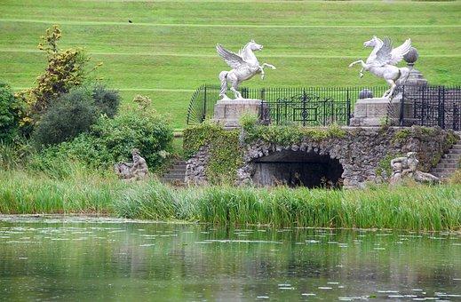 Powerscourt, Ireland, Garden, Lake, Horses, Scenery