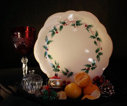 Christmas Still Life, Holiday Cake Plate, Tangerines
