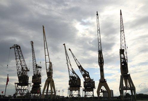 Belgium, Antwerp, Harbor, Cranes, Schelde, Lifting